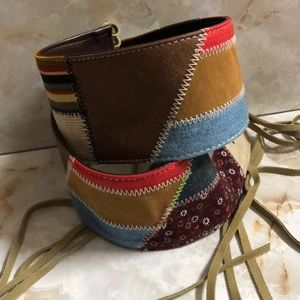 Genuine leather and fringe quilted pattern belt